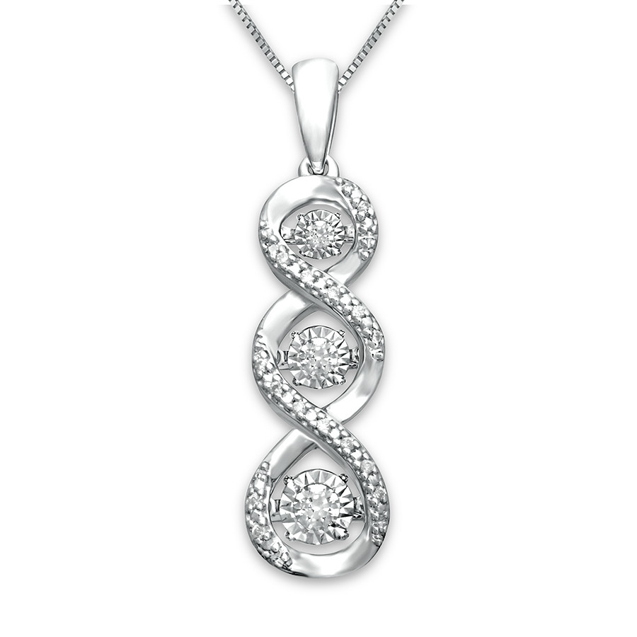 Diamonds In Rhythm Necklace 1/15 Ct Tw Round Sterling Silver For Most Recently Released Round Sparkle Halo Necklaces (Gallery 14 of 25)