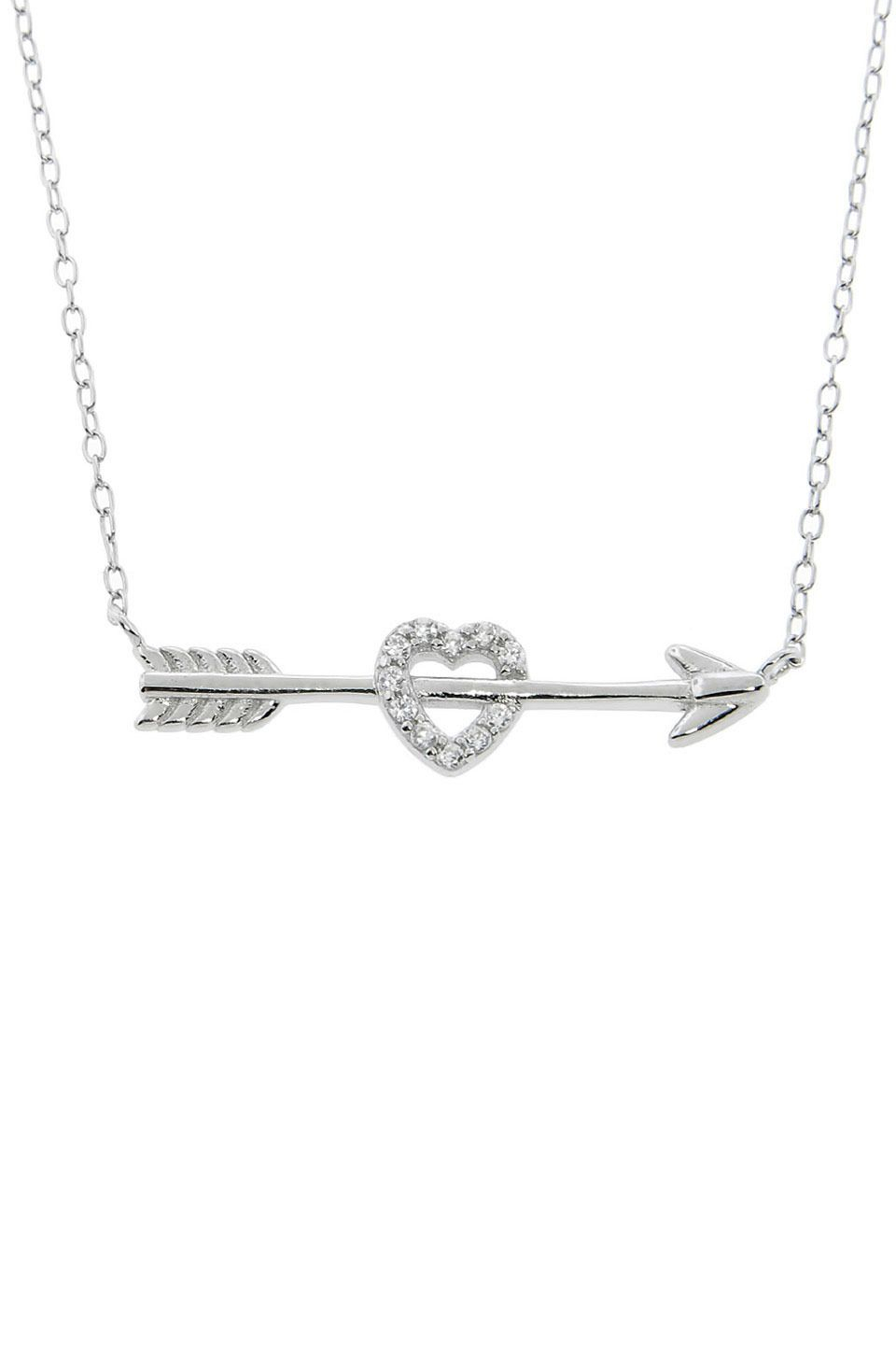 Diamonere Sterling Silver Cupids Pave Heart & Arrow Necklace In 2020 Sparkling Arrow Necklaces (View 3 of 25)