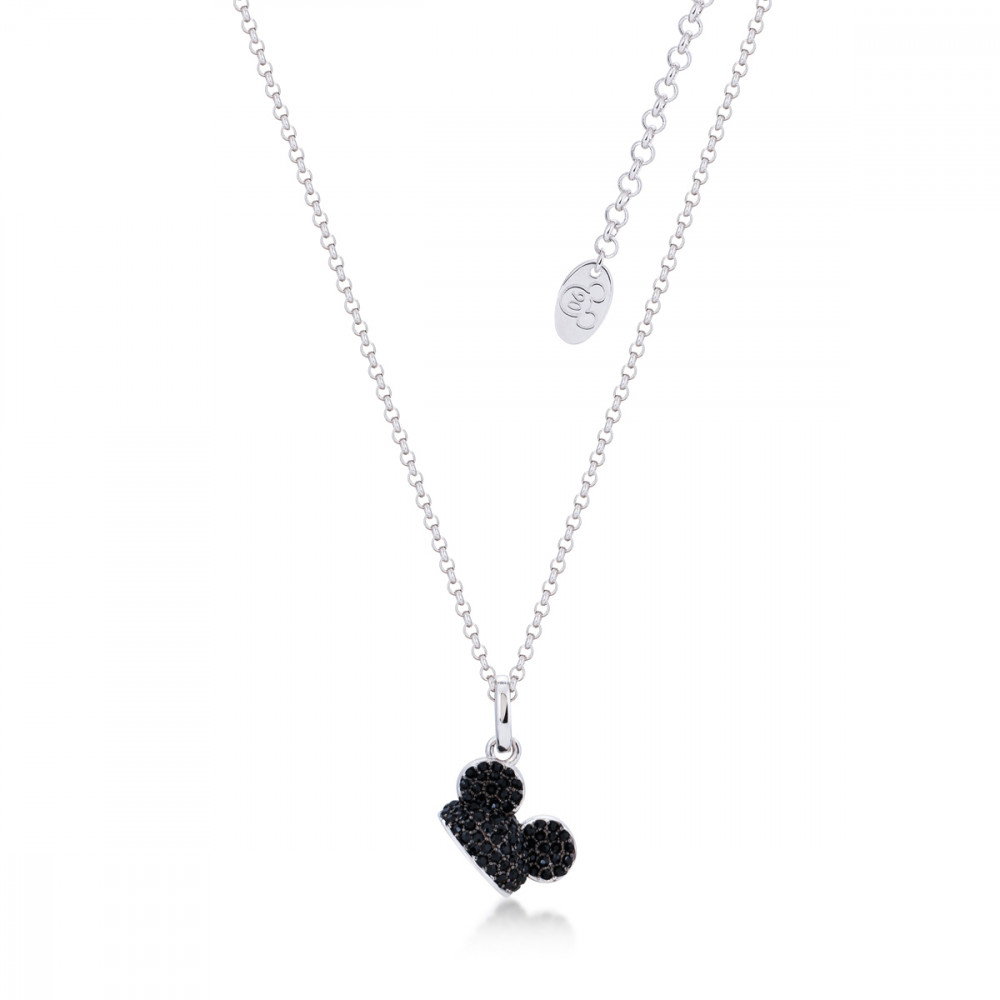 Disney Mickey Mouse 90 Years White Gold Plated Black Crystal Ears Hat  Necklace Inside Most Recently Released Disney Classic Mickey Pendant Necklaces (Gallery 20 of 25)