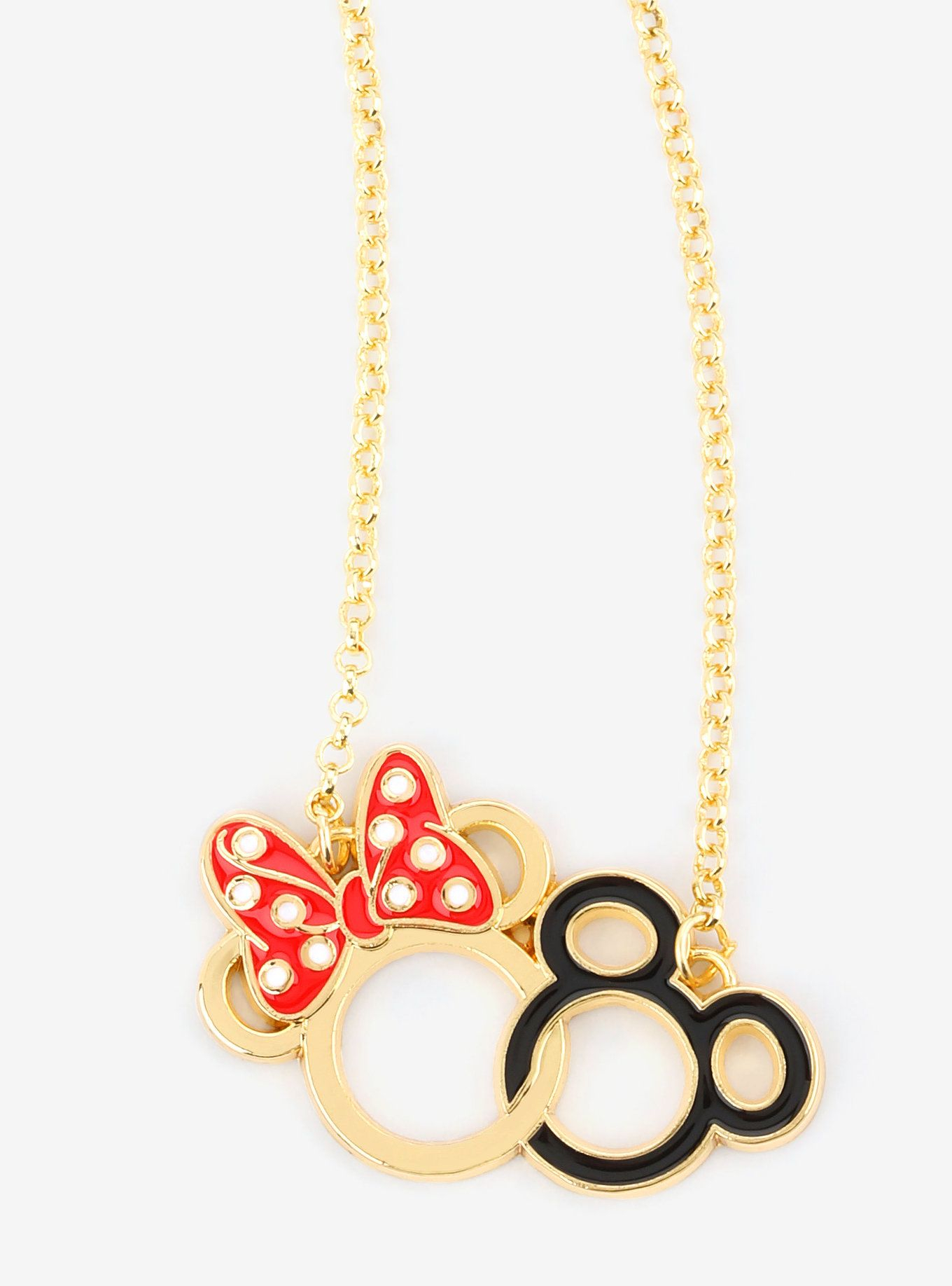 Disney Mickey Mouse & Minnie Mouse Gold Outline Necklace | Necklaces Throughout Current Disney Classic Mickey Pendant Necklaces (View 6 of 25)