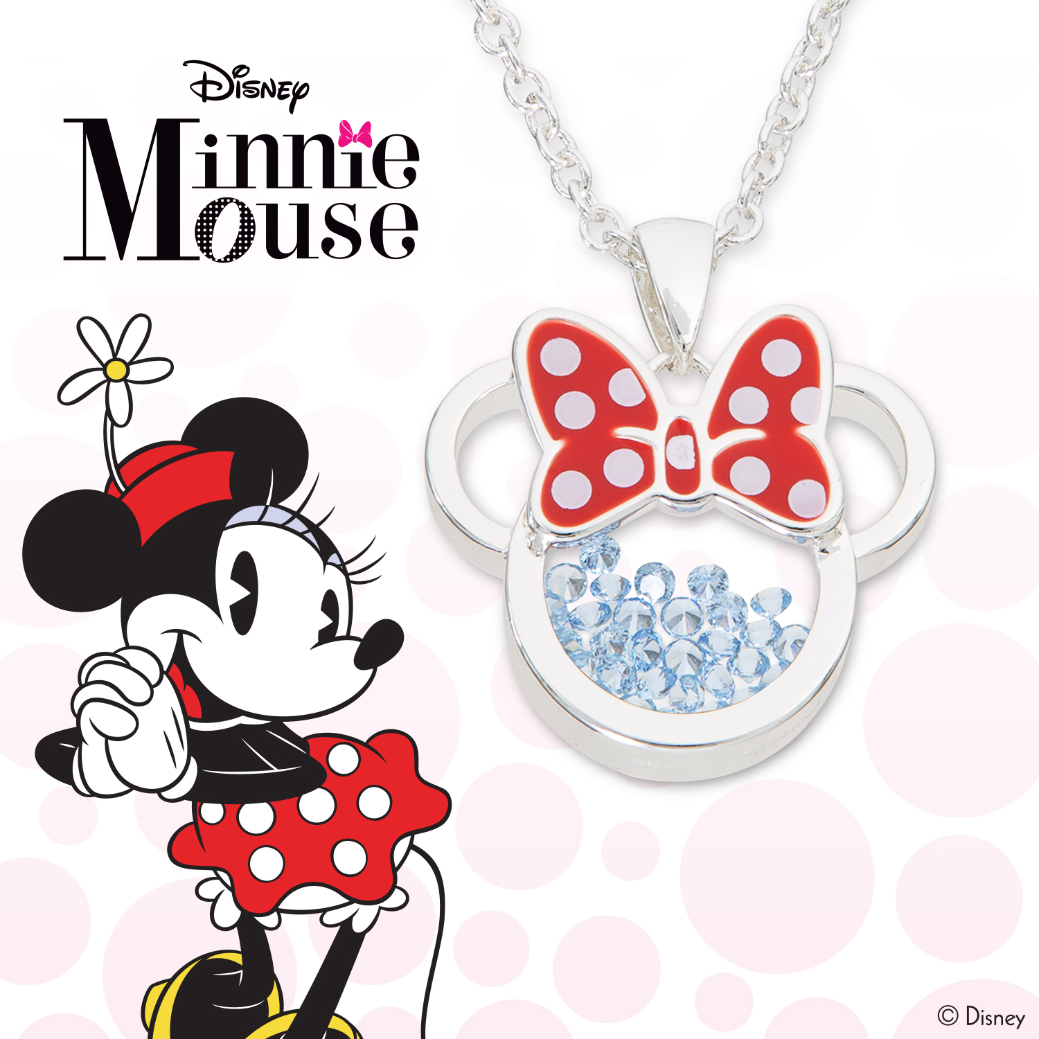 """Disney Minnie Mouse December Birthstone Silver Plated Shaker Pendant  Necklace, 18+2"""" Extender With Regard To Current Disney Minnie'S Polka Dots Pendant Necklaces (Gallery 24 of 25)"""