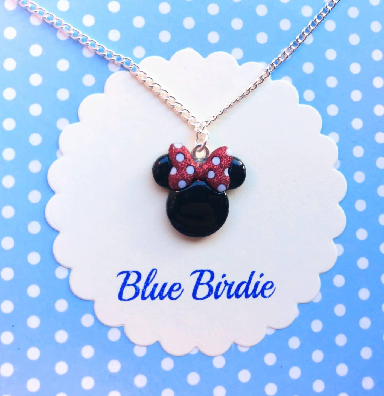 Disney Minnie Mouse Necklace Disney Jewelry Disney Necklace Minnie Mouse Jewelry Disney Jewellery Minnie Pendant Necklace Disney Gifts Within 2019 Disney Minnie's Polka Dots Pendant Necklaces (View 11 of 25)