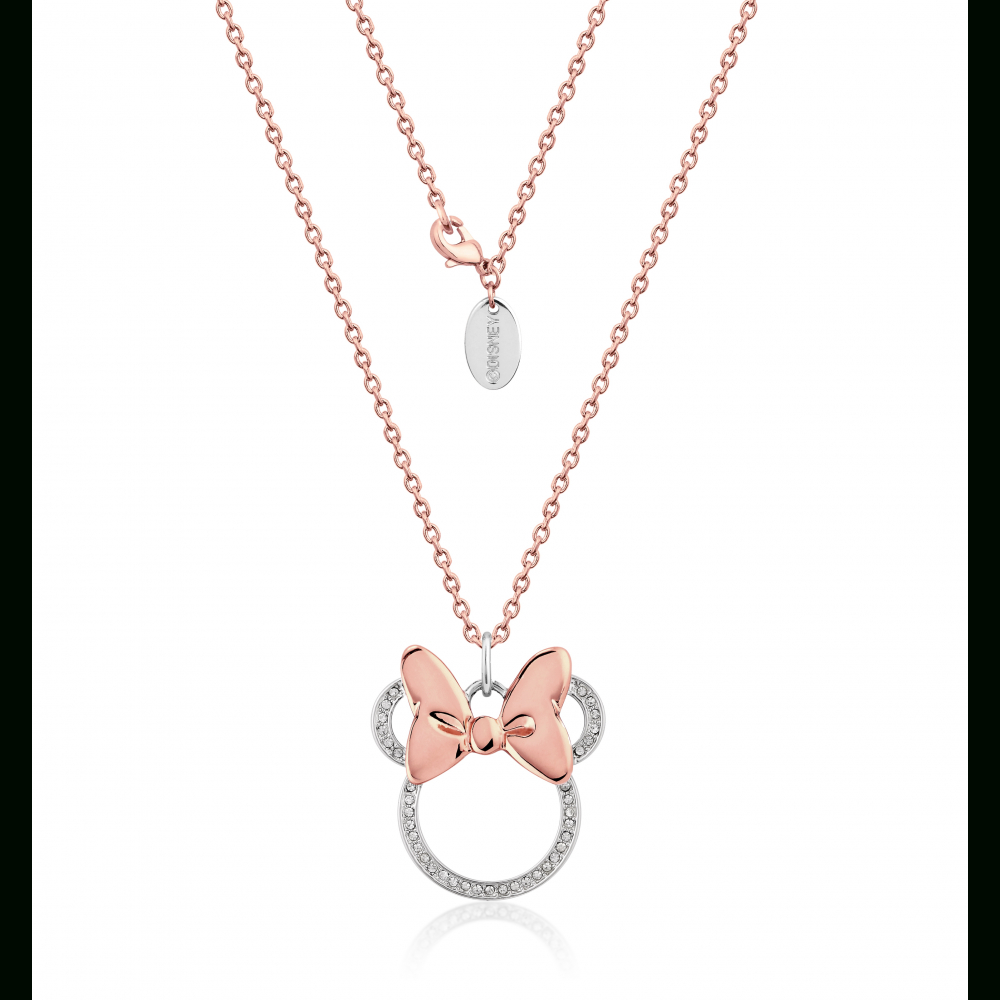 Disney Minnie Mouse Rocks Rose Gold Plated Long Crystal Necklace Within Most Recently Released Disney Minnie's Polka Dots Pendant Necklaces (View 9 of 25)