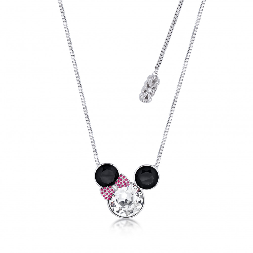Disney Minnie Mouse White Gold Plated Statement Crystal Necklace With Current Disney Minnie'S Polka Dots Pendant Necklaces (Gallery 19 of 25)