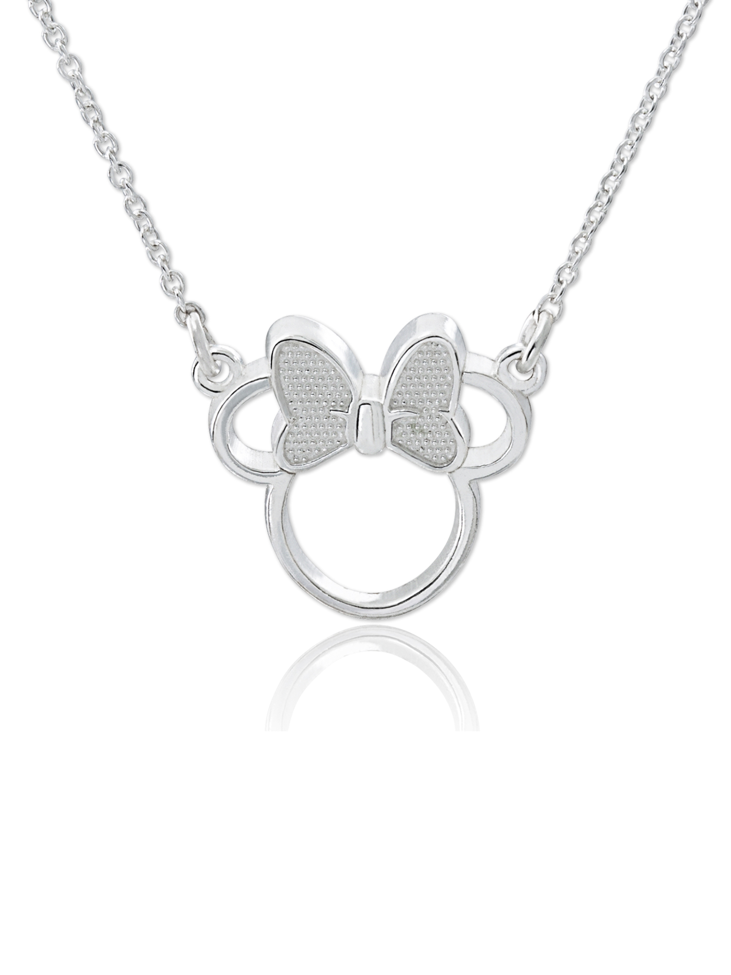 "Disney Sterling Silver Minnie Mouse Necklace, 18"" Chain With Most Current Disney Minnie'S Polka Dots Pendant Necklaces (Gallery 21 of 25)"