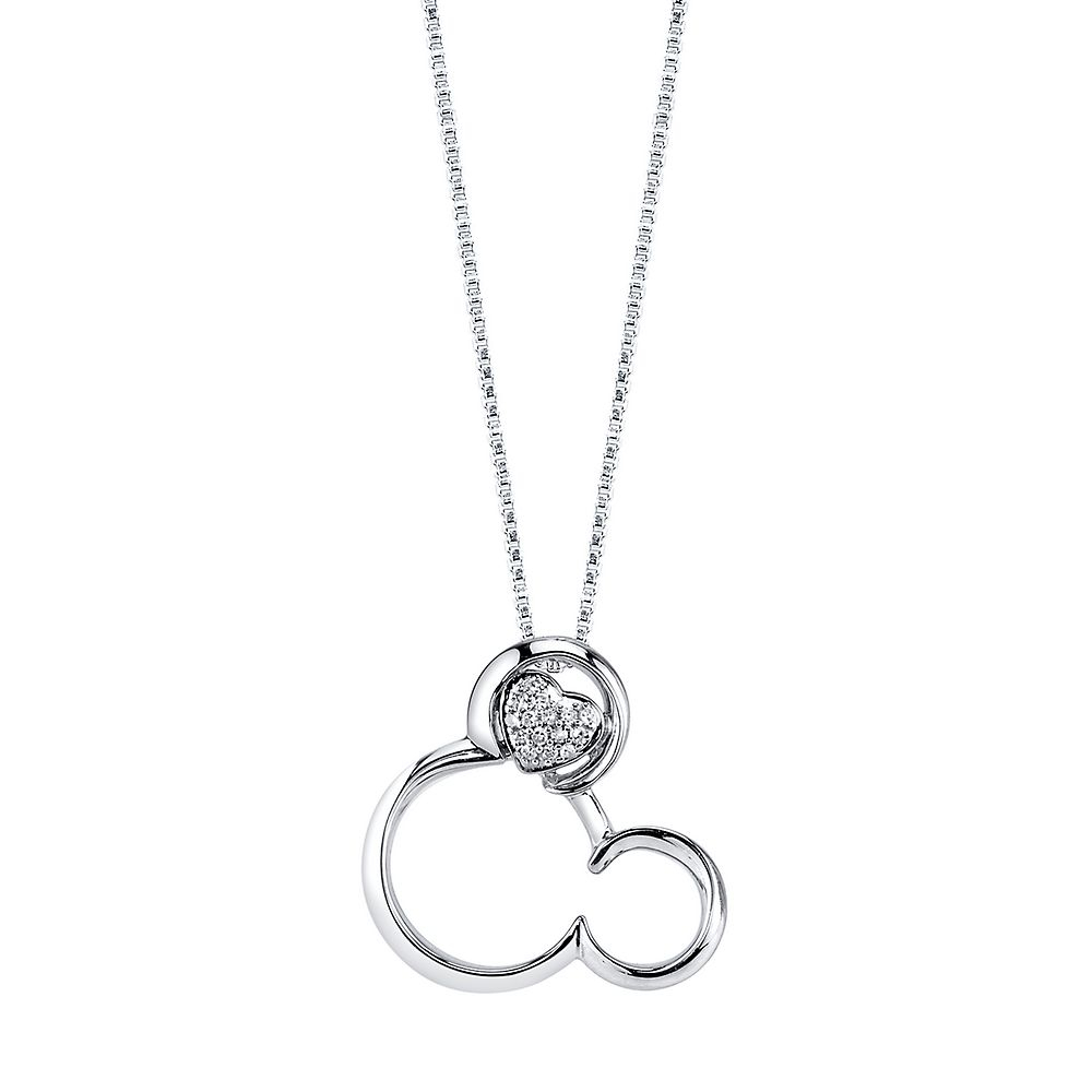 Disney's Mickey Mouse Diamond Heart Pendant In Sterling Silver With Regard To Most Recent Disney Classic Mickey Pendant Necklaces (View 11 of 25)