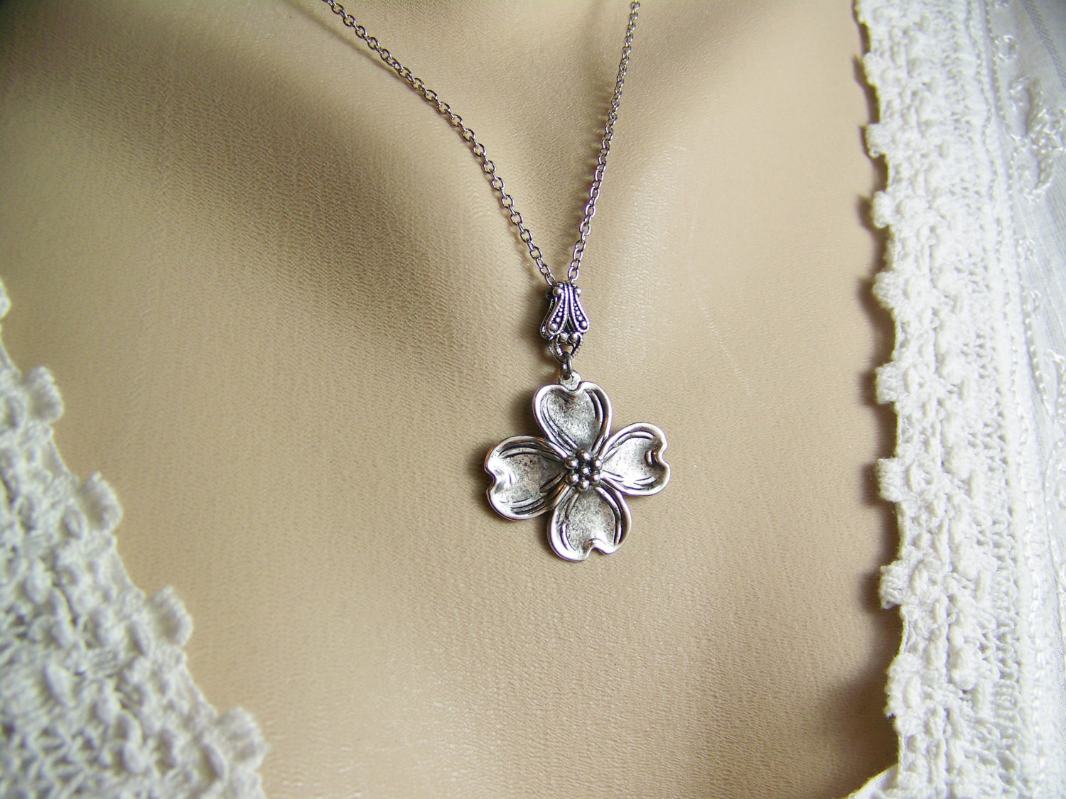 Dogwood Necklace, Dogwood Flower, Silver Dogwood, Flower Petal Necklace, Four Petal Flower Necklace, Spring Necklace, Dogwood Intended For Latest Four Petal Flower Necklaces (View 9 of 25)