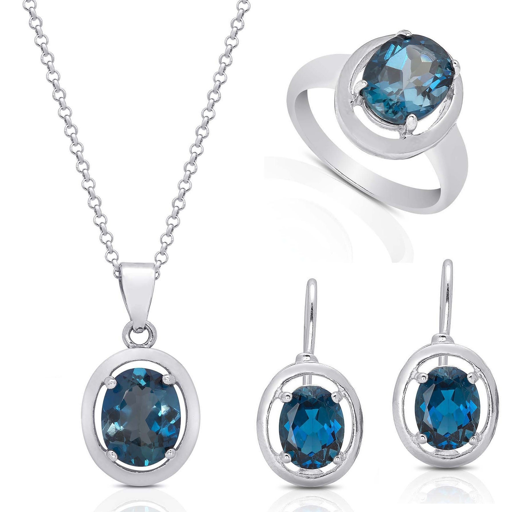 Dolce Giavonna Red Bow Gift Box Sterling Silver London Blue Topaz Earring,  Necklace, Ring, Or Jewelry Set With Regard To Recent London Blue December Birthstone Locket Element Necklaces (View 11 of 25)