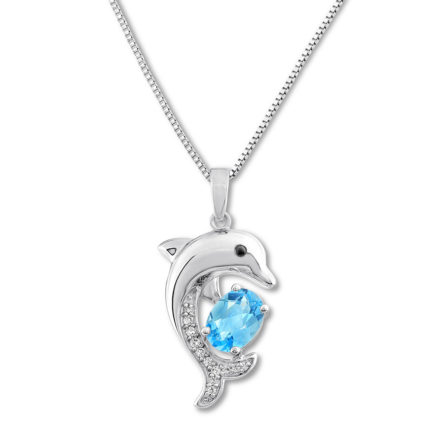 Dolphin Necklace Blue & White Topaz Sterling Silver With Most Recent London Blue December Birthstone Locket Element Necklaces (View 12 of 25)