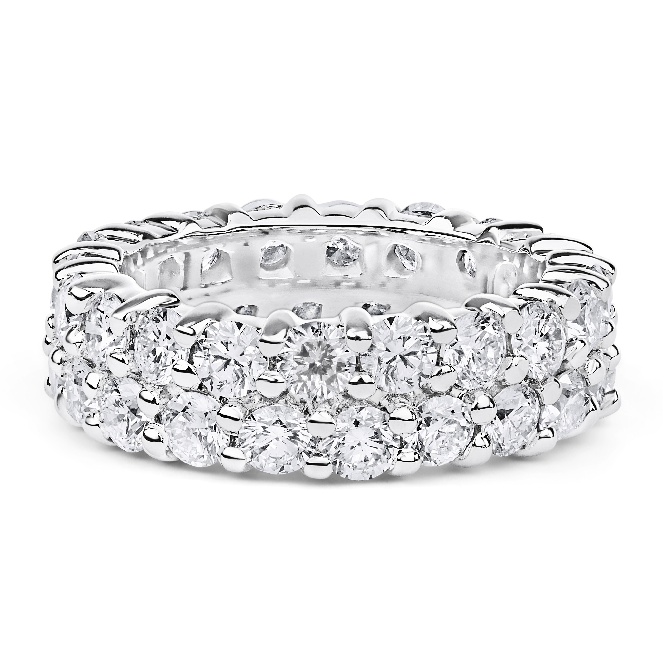 Double Band Diamond Eternity Ring In 14k White Gold ( (View 18 of 25)