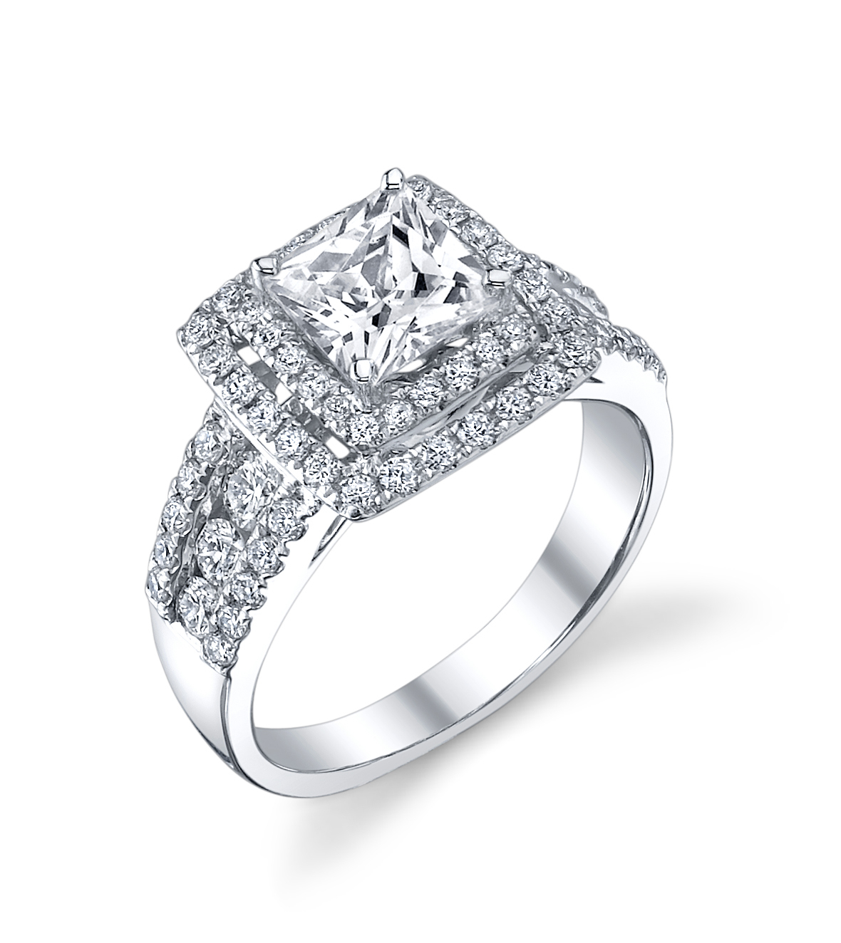 Double Halo Princess Cut Engagement Ring With Regard To Newest Princess Cut Diamond Criss Cross Anniversary Bands In White Gold (View 12 of 25)
