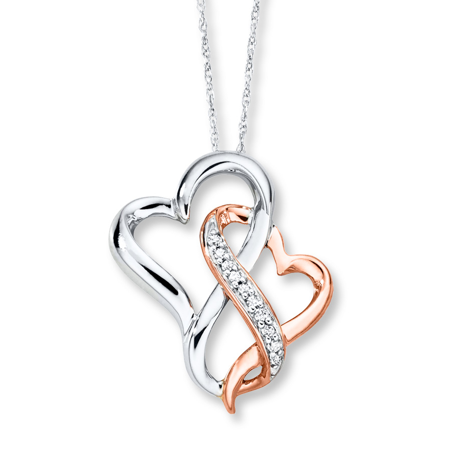 Double Heart Necklace 1/20 Ct Tw Diamonds 10k Two Tone Gold Pertaining To 2019 Crown & Interwined Hearts Pendant Necklaces (View 14 of 25)