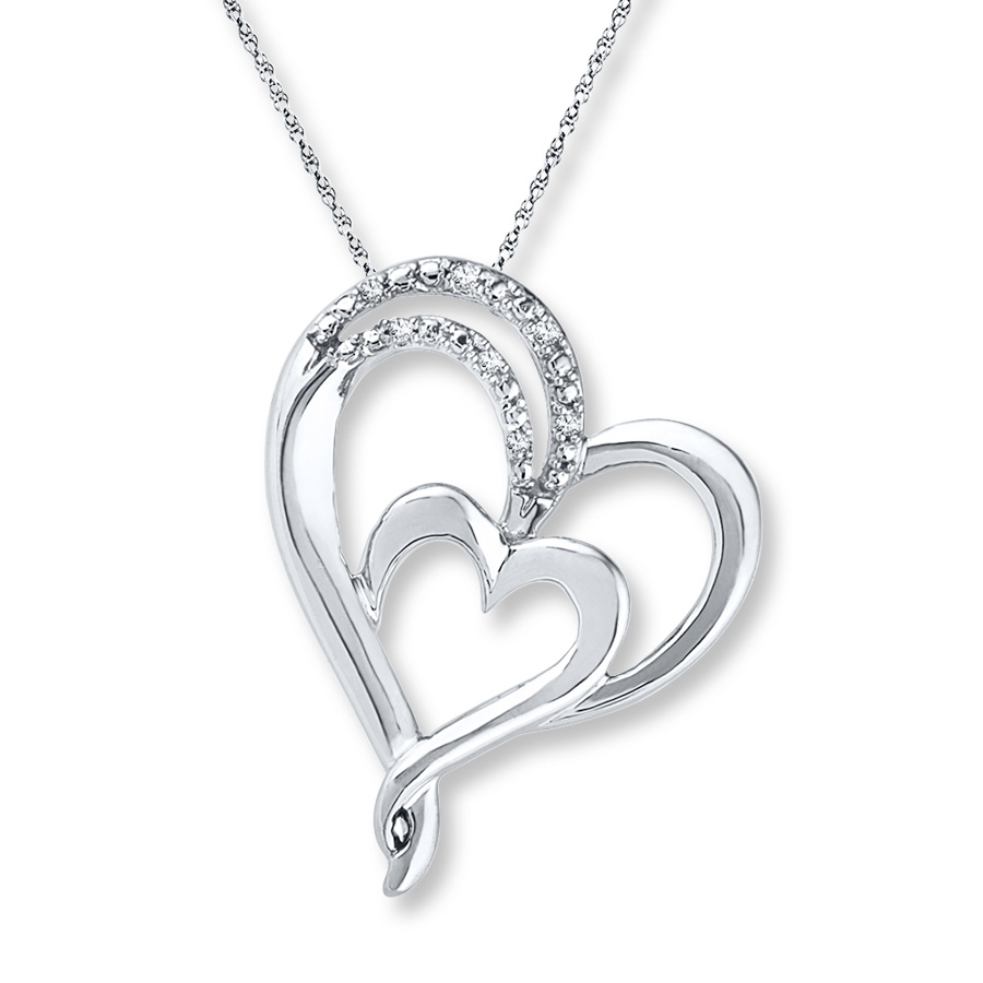 Double Heart Necklace Diamond Accents Sterling Silver Within Most Recent Joined Hearts Necklaces (View 10 of 25)