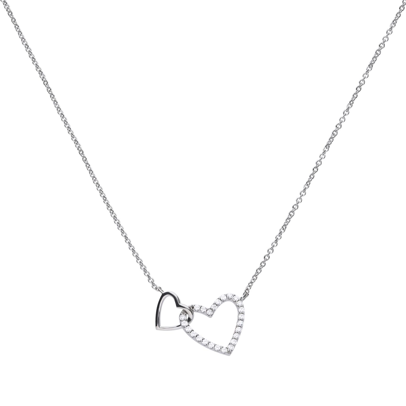 Double Heart Necklace – Diamonfire With 2020 Interlocked Hearts Collier Necklaces (View 6 of 25)