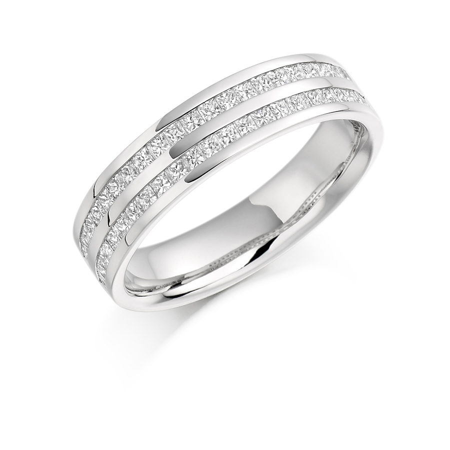 Double Row Channel Set Princess Cut Band – Het 1078 Regarding Most Recently Released Diamond Two Row Anniversary Bands In Sterling Silver (View 11 of 25)