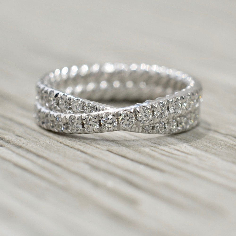 Double Row Crossover Diamond Eternity Band In White Inside Best And Newest Diamond Double Row Anniversary Bands In White Gold (Gallery 1 of 25)