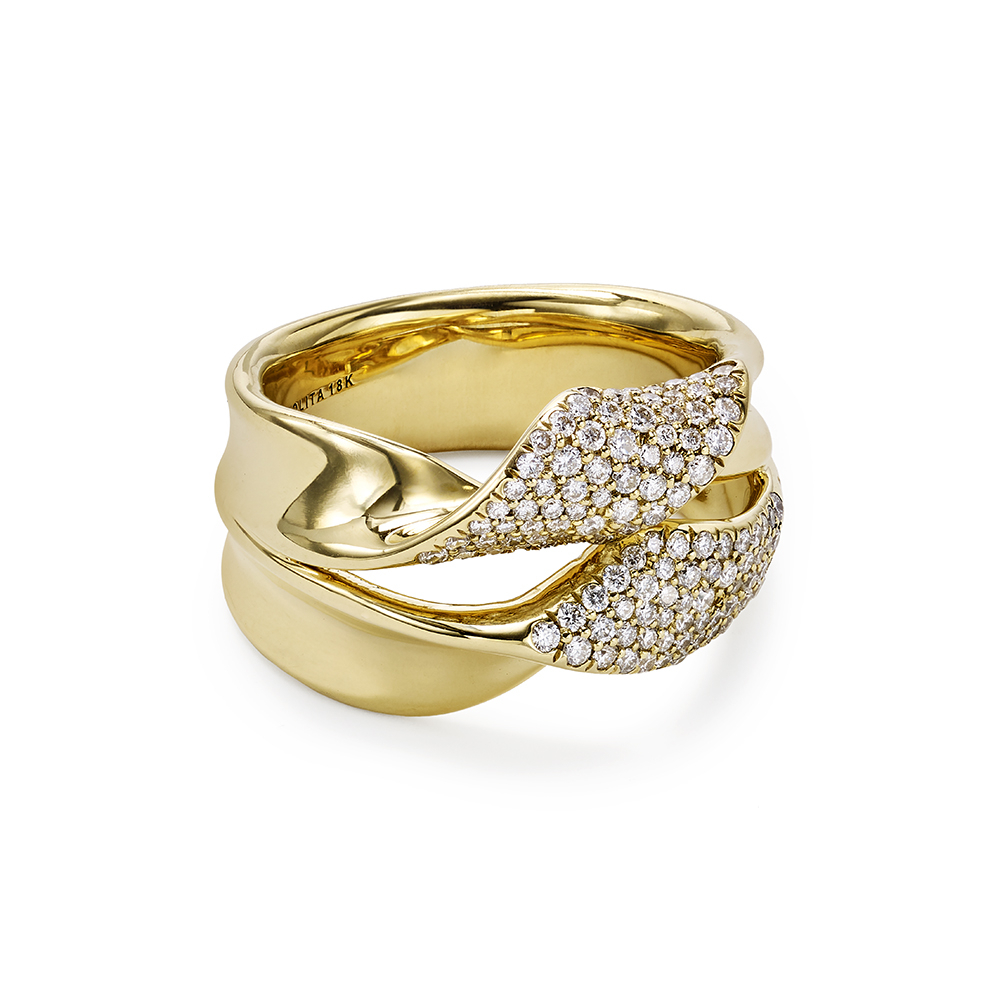 Double Twist Pavé Ribbon Ring With Diamonds In 18K Gold For Most Up To Date Pavé Flower Rings (View 8 of 25)