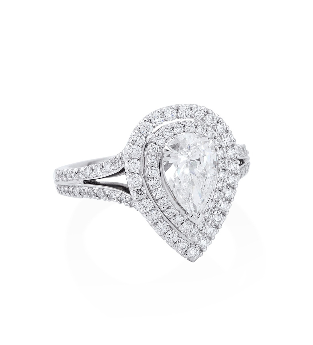 Double Vintage Pear Cut Diamond Ring With Split Shoulders | Boodles In Most Recent Classic Teardrop Halo Rings (View 12 of 25)