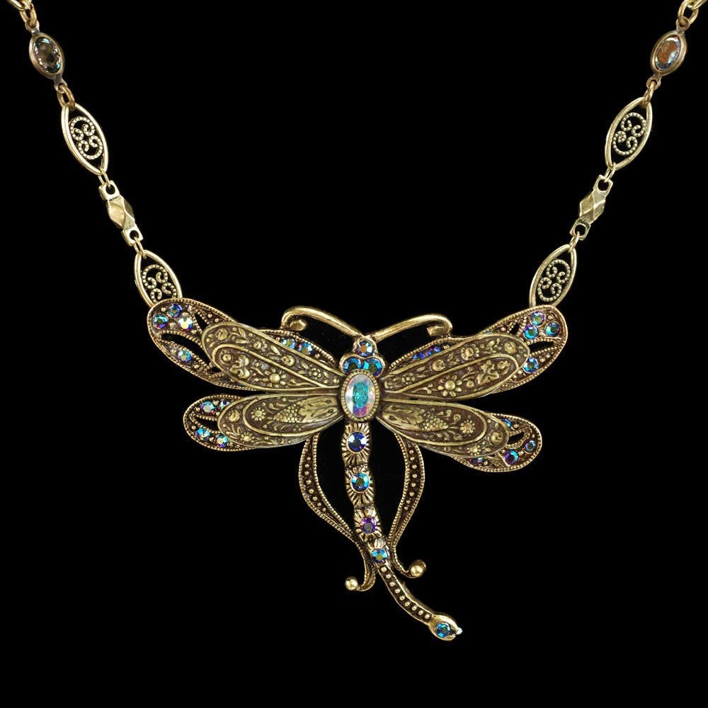 Dragonfly Necklace, Butterfly Necklace, Butterfly Jewelry, Insect Necklace,  Insect Jewelry, Dragonfly Jewelry, Animal, Art Nouveau N105 With Regard To Most Popular Sparkling Dragonfly Y  Necklaces (View 11 of 25)