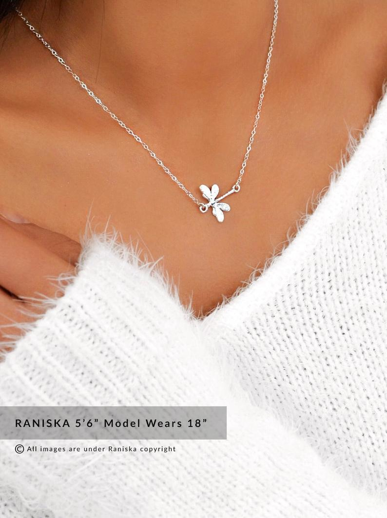 Dragonfly Silver/gold/rosegold Necklace, Dainty Necklace, Dragonfly  Pendant,gift For Her,girlfriend Gift,best Friends Gift,delicate Necklace Regarding Most Popular Sparkling Dragonfly Y  Necklaces (View 12 of 25)