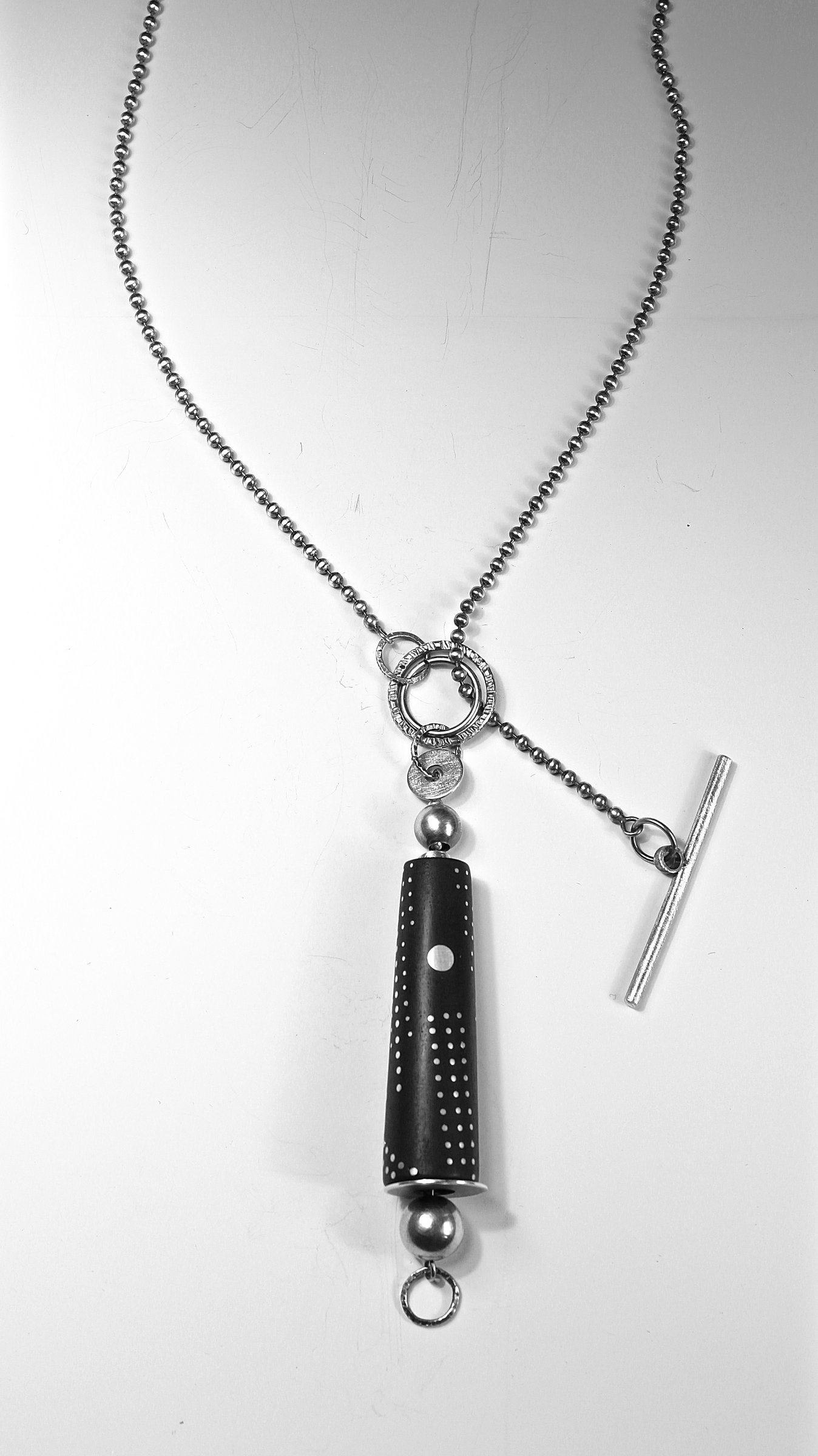 Ebony Drop With Dots And Charms Necklacesuzanne Linquist (Silver Throughout 2020 Letter Q Alphabet Locket Element Necklaces (Gallery 13 of 26)