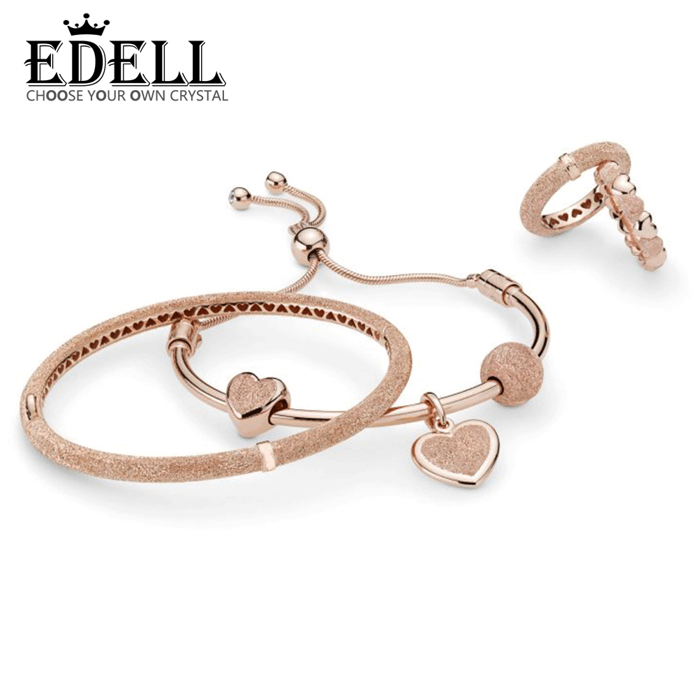 Edell 100% 925 Sterling Silver New 2019 Spring Rose Matte Brilliance Hearts Ring Pendant Charm Clip Beaded Bangle Gift Set Within Newest Matte Brilliance Heart Pendant Necklaces (View 7 of 25)