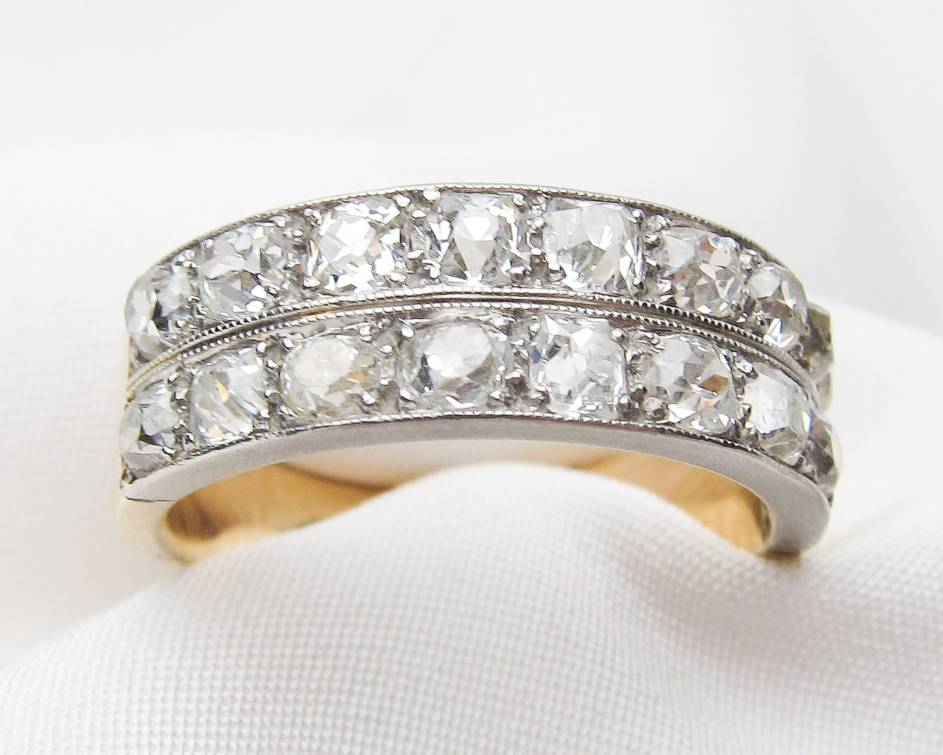 Edwardian Double Row Diamond Ring Inside Newest Diamond Three Row Tiered Anniversary Bands In White Gold (Gallery 24 of 25)