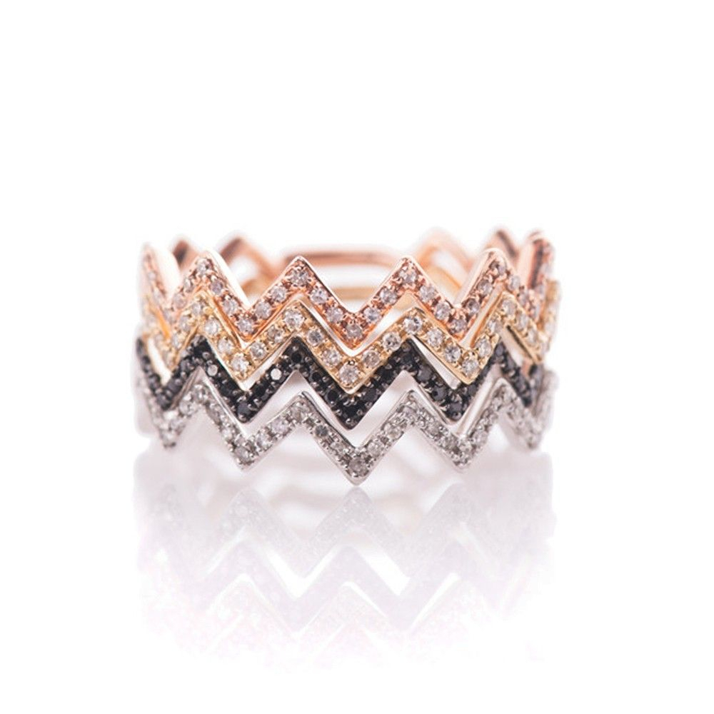 Ef Collection Zig Zag Stack Ring Black Rhodium :: Bird Boutique Within Most Popular Shimmering Zigzag Rings (View 6 of 25)