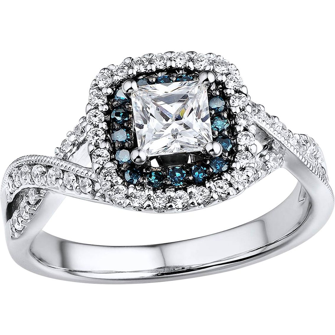 Elegant In Every Detail, This Engagement Ring Boasts A 1/2 Intended For Most Current Enhanced Blue And White Diamond Anniversary Bands In White Gold (View 9 of 25)