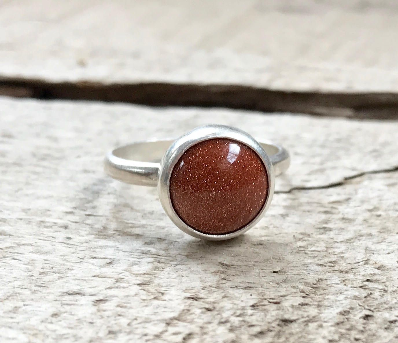 Elegant Round Brown Goldstone Sterling Silver Statement Ring | Boho For 2017 Elegant Sparkle Rings (View 6 of 25)