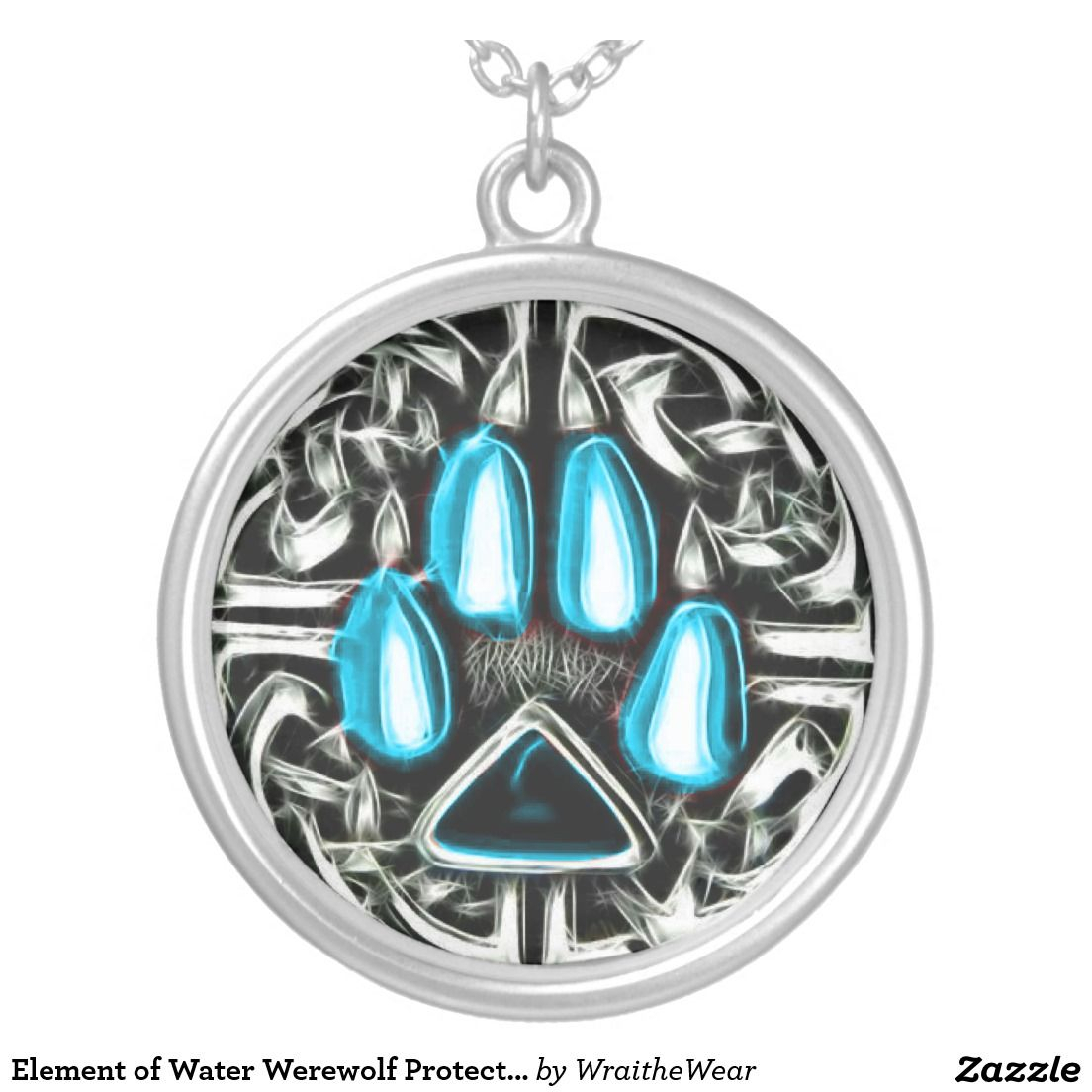 Element Of Water Werewolf Protection Symbol Amulet Silver Plated Inside Most Recently Released Shimmering Knot Locket Element Necklaces (View 4 of 25)