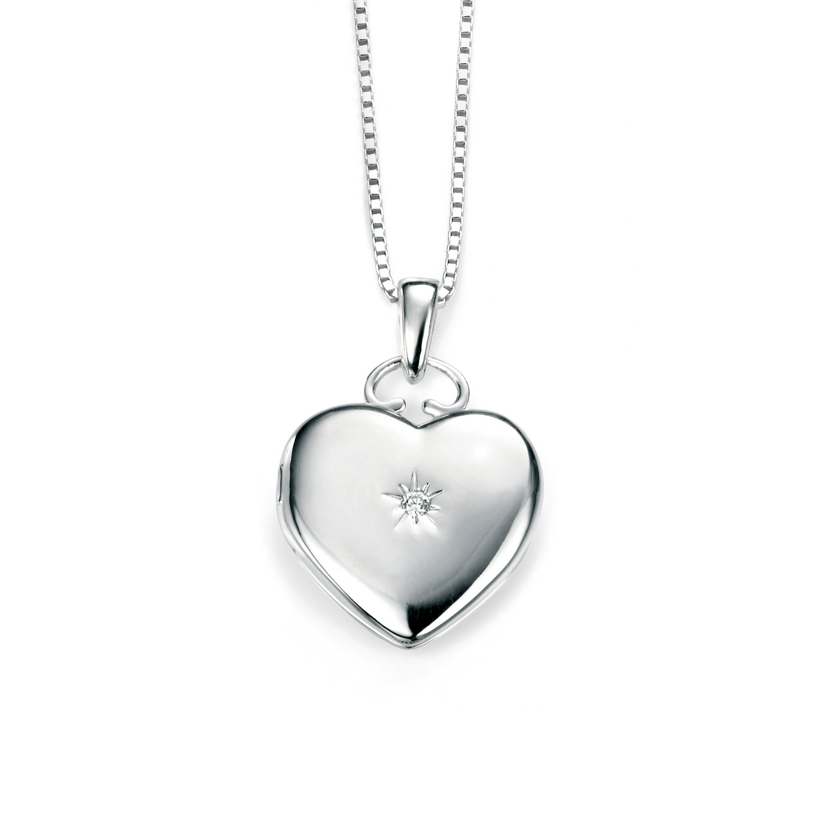 Elements Silver Clear Cz Heart Locket Regarding Most Recent Sparkling Gift Locket Element Necklaces (Gallery 20 of 25)