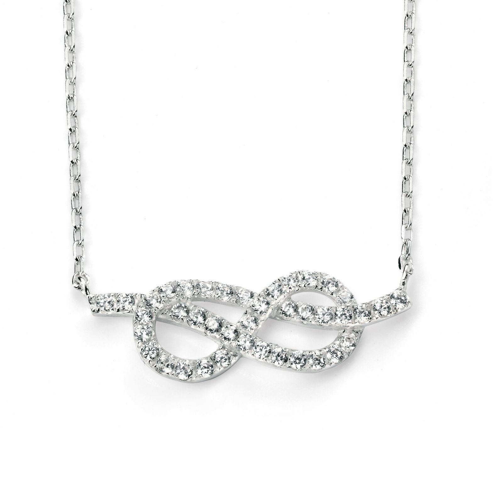 Elements Silver Clear Cz Infinity Necklace 42+3Cm Regarding Latest Sparkling Infinity Locket Element Necklaces (View 8 of 25)