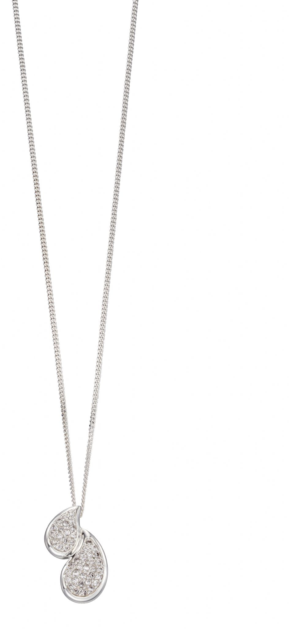 Elements Silver Double Pave Teardrop Pendant | The Silver Shop Within Most Popular Pavé Locket Element Necklaces (Gallery 2 of 25)
