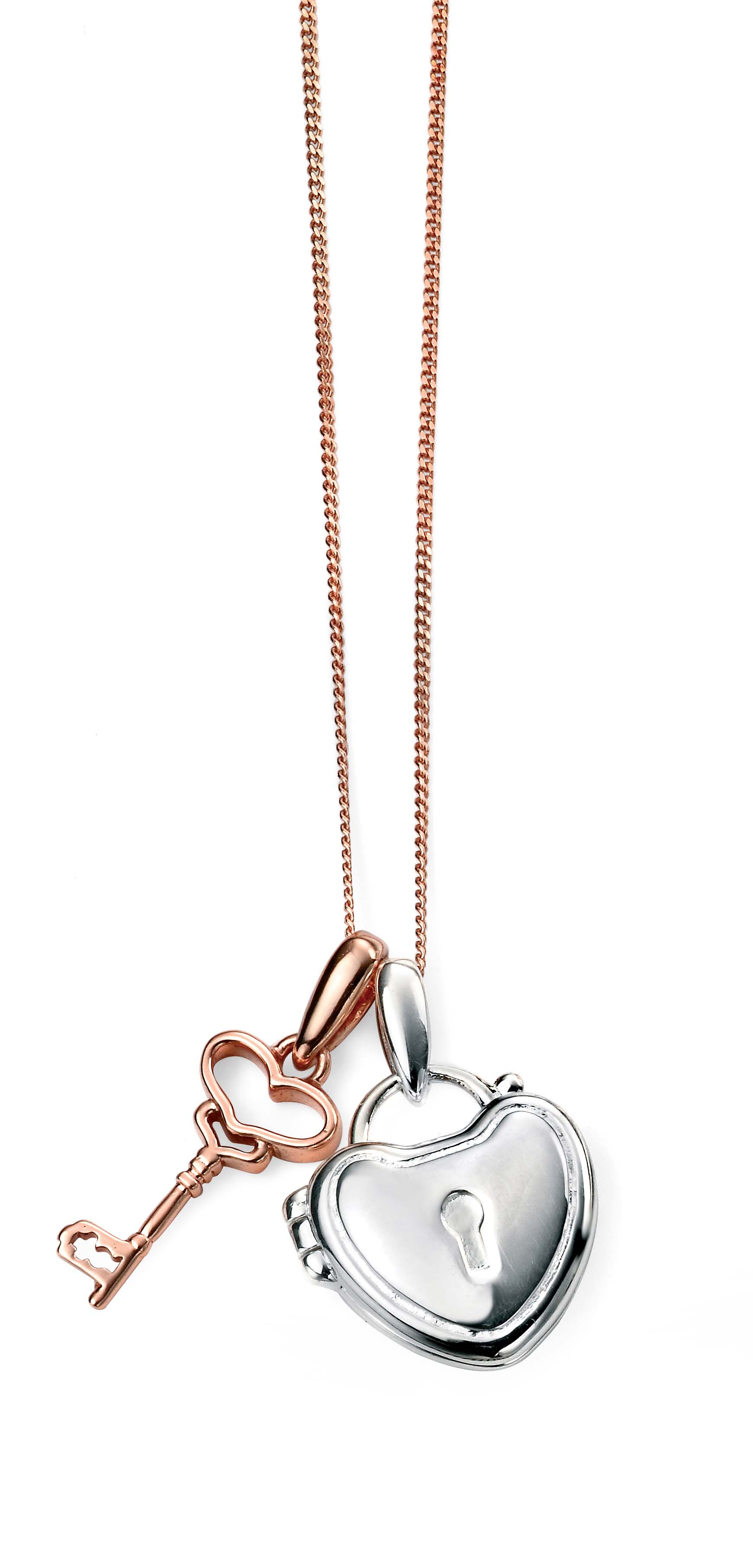 Elements Silver Rhodium Plated Rose Gold Key And Silver Heart Locket Double Pendant Necklace Throughout Latest Sparkling Gift Locket Element Necklaces (View 3 of 25)