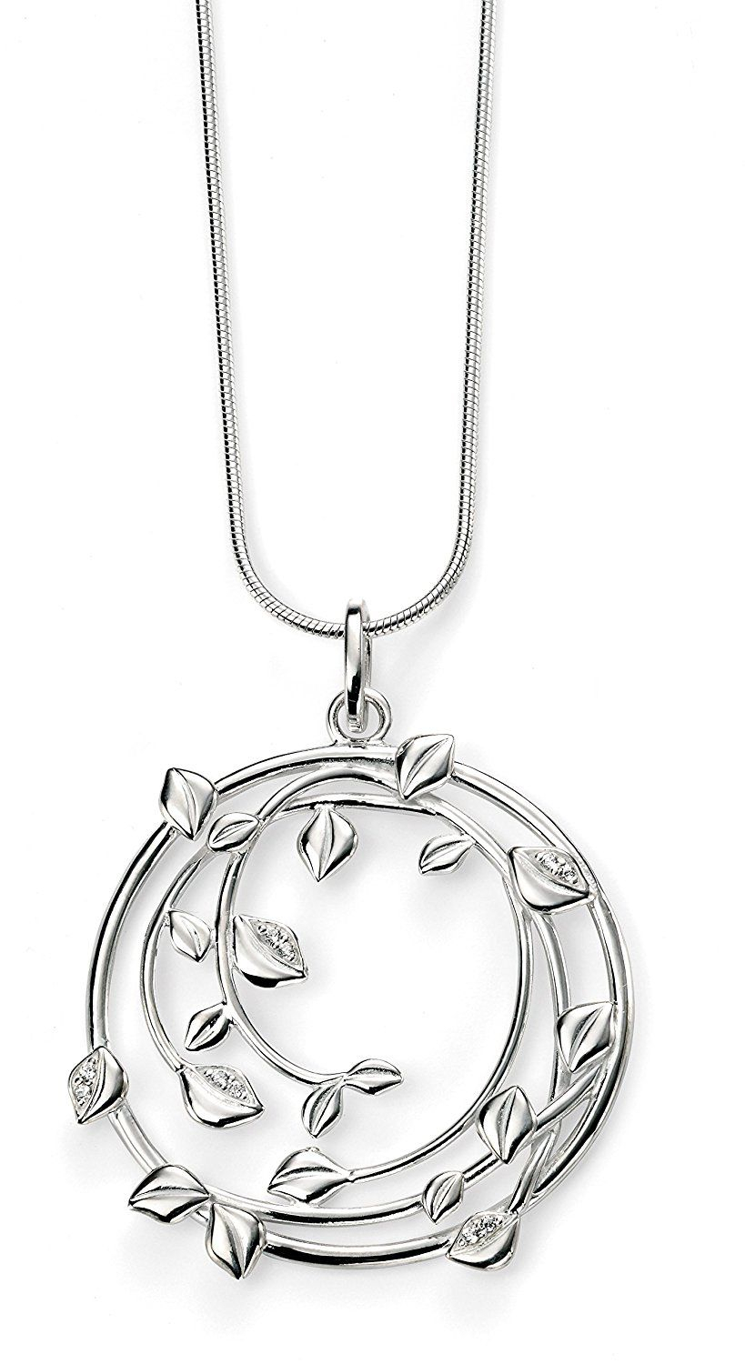 Elements Sterling Silver Ladies Large Swirl Pendant With Pave Clear Intended For Most Recently Released Pavé Locket Element Necklaces (View 8 of 25)