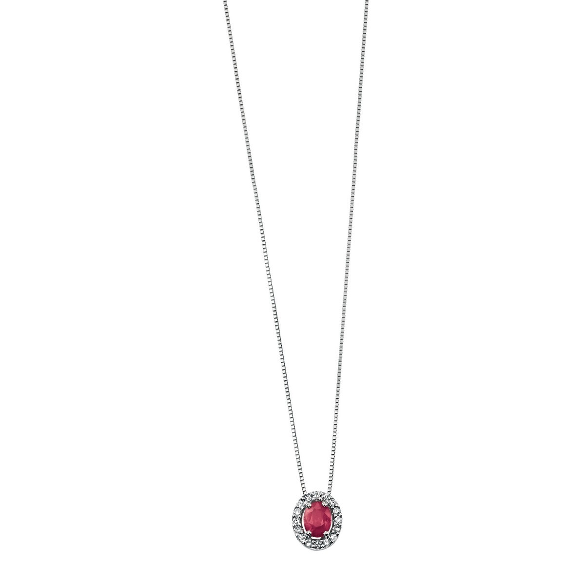 Elements White Gold Oval Ruby Pendant Pave Diamonds Gp677rz475gn064 Pertaining To Best And Newest Pavé Locket Element Necklaces (View 11 of 25)