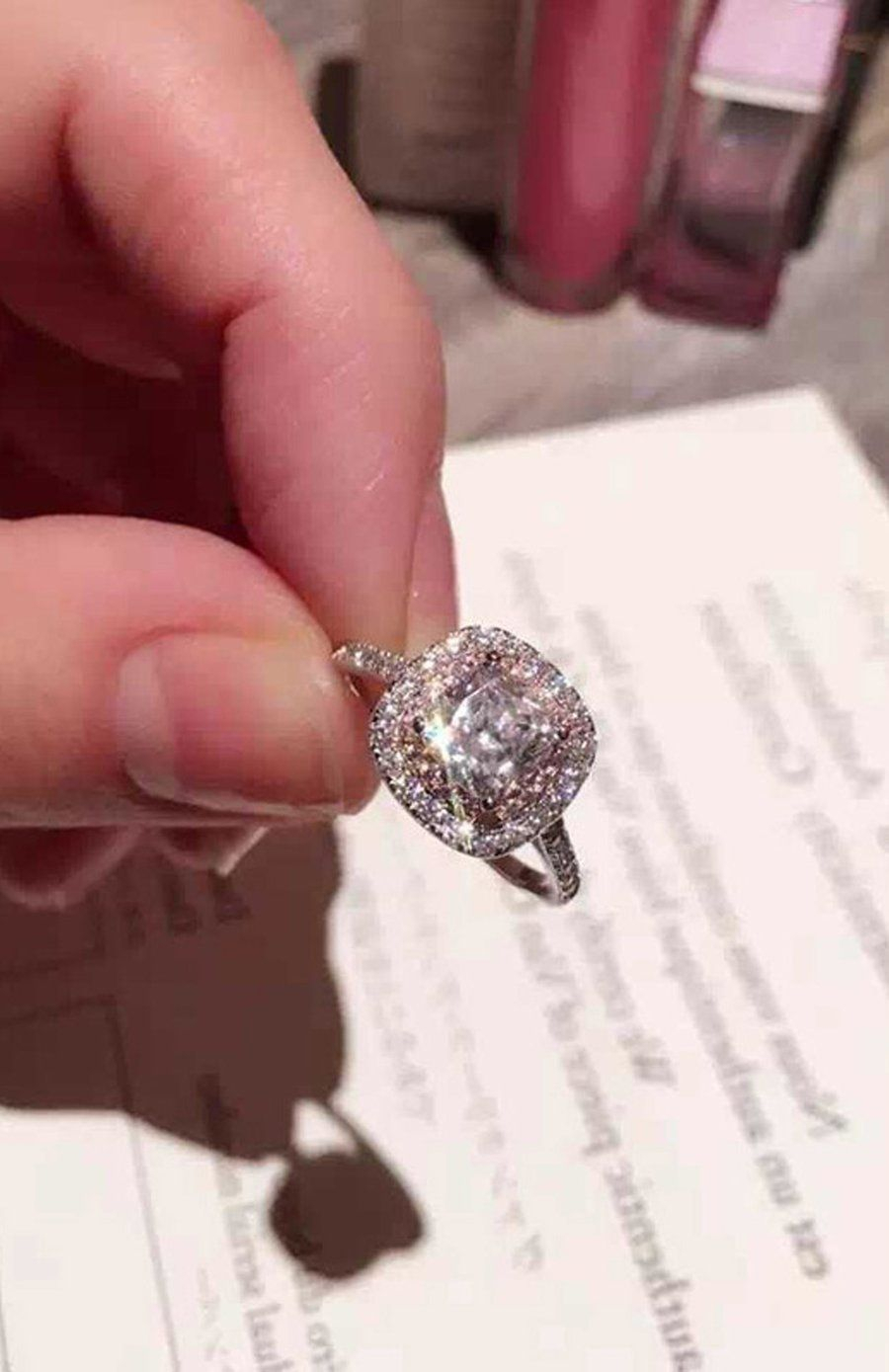 Elena Luxury Ultra Shine Crystal Cushion Cut Square Pink Double Halo Within 2018 Square Sparkle Halo Rings (Gallery 9 of 25)