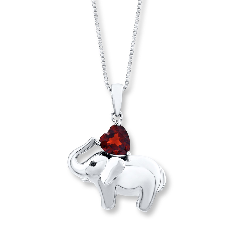 Elephant Necklace Heart Shaped Garnet Sterling Silver Throughout Most Up To Date Garnet Red January Birthstone Locket Element Necklaces (View 17 of 25)