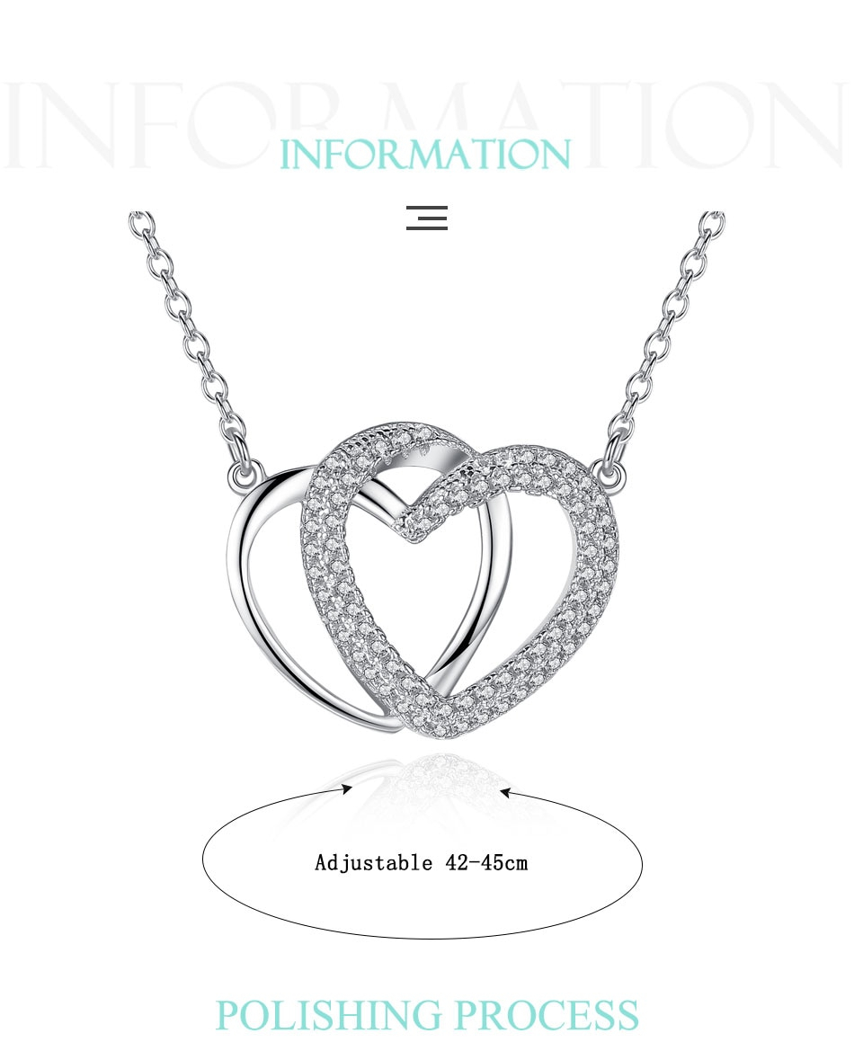 Eleshe Luxury Crystal Cz Interlocking Hearts Pendant Necklace Women 925  Sterling Silver Necklaces Jewelry With 44Cm Long Chain Pertaining To Current Interlocked Hearts Locket Element Necklaces (Gallery 14 of 25)