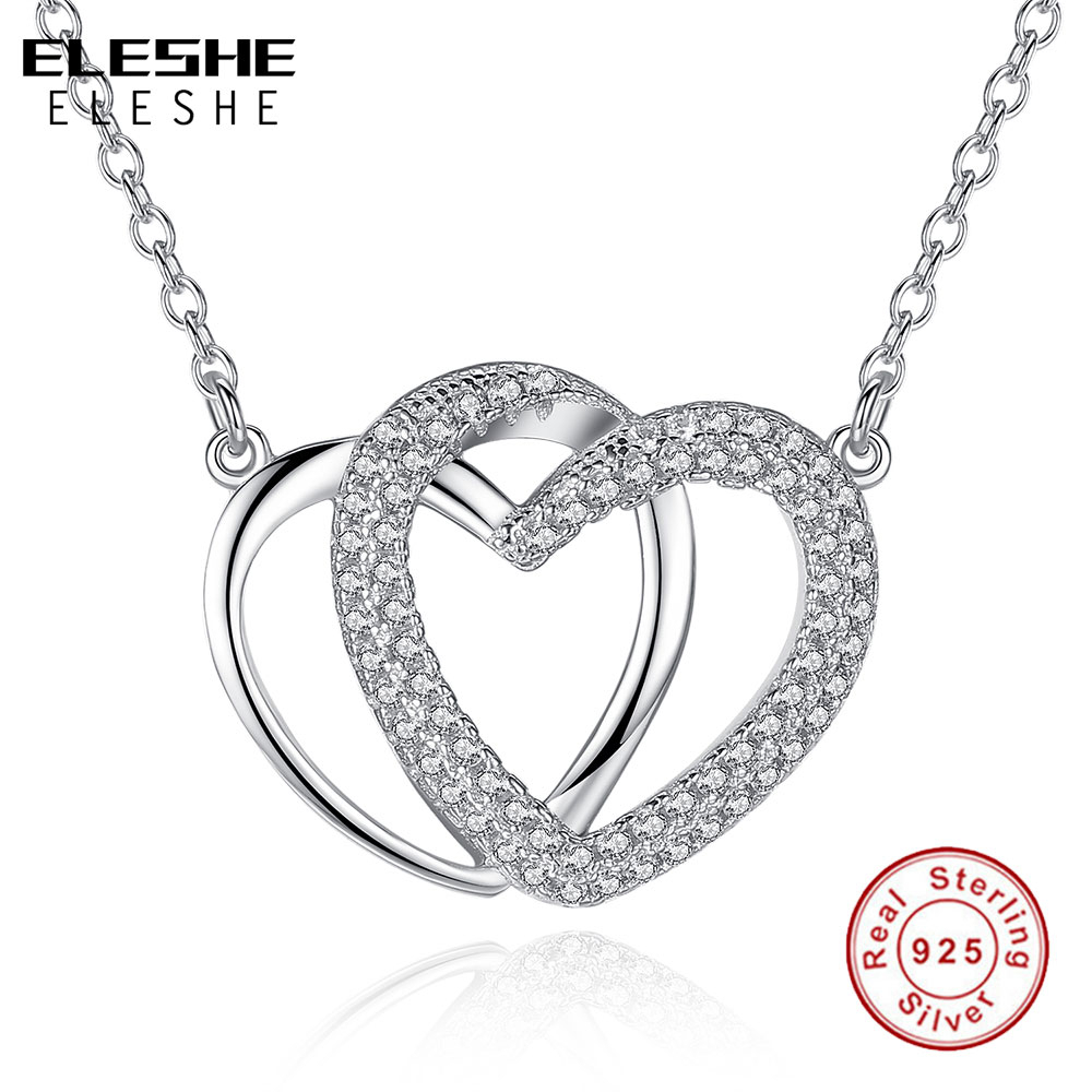 Eleshe Luxury Crystal Cz Interlocking Hearts Pendant Necklace Women 925  Sterling Silver Necklaces Jewelry With 44Cm Long Chain With Best And Newest Interlocked Hearts Collier Necklaces (View 7 of 25)