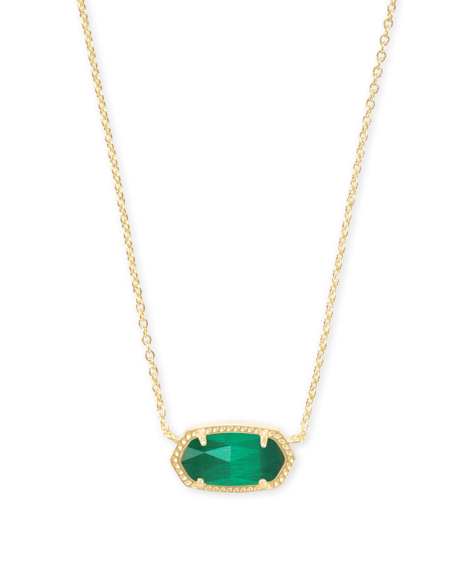 Elisa Gold Pendant Necklace In Emerald Cat's Eye | Kendra Scott Within Most Popular Royal Green Crystal May Droplet Pendant Necklaces (View 8 of 25)