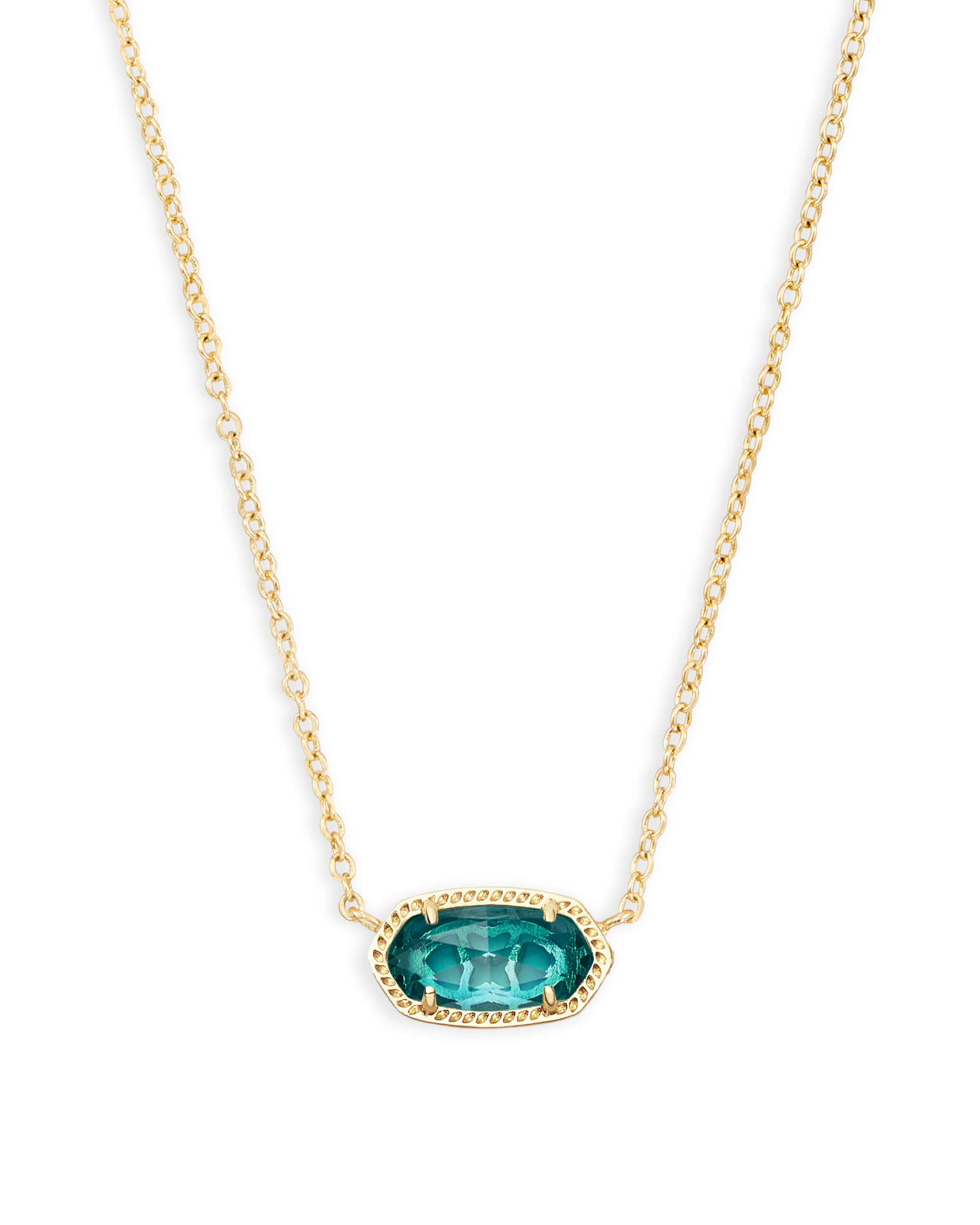 Elisa Gold Pendant Necklace In London Blue | Kendra Scott With Best And Newest Royal Green Crystal May Droplet Pendant Necklaces (View 9 of 25)