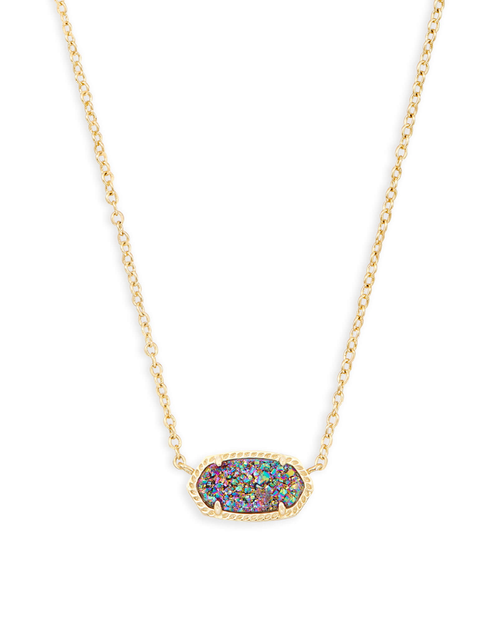 Elisa Gold Pendant Necklace In Multicolor Drusy | Kendra Scott Within Recent Sparkling Pattern Necklaces (View 11 of 25)