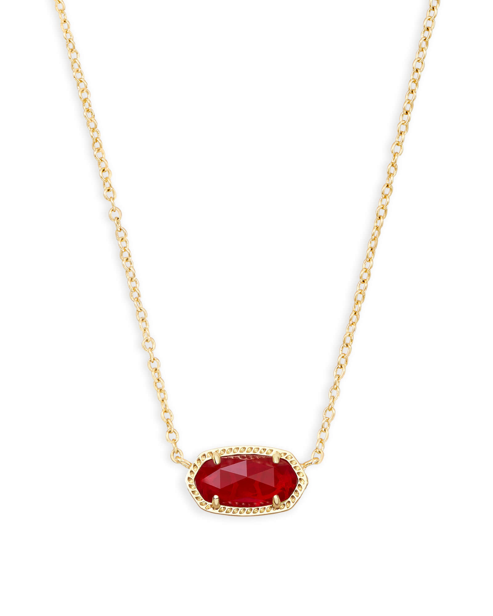 Elisa Gold Pendant Necklace In Ruby Red | Kendra Scott With Regard To Best And Newest July Droplet Pendant, Synthetic Ruby Necklaces (View 12 of 25)