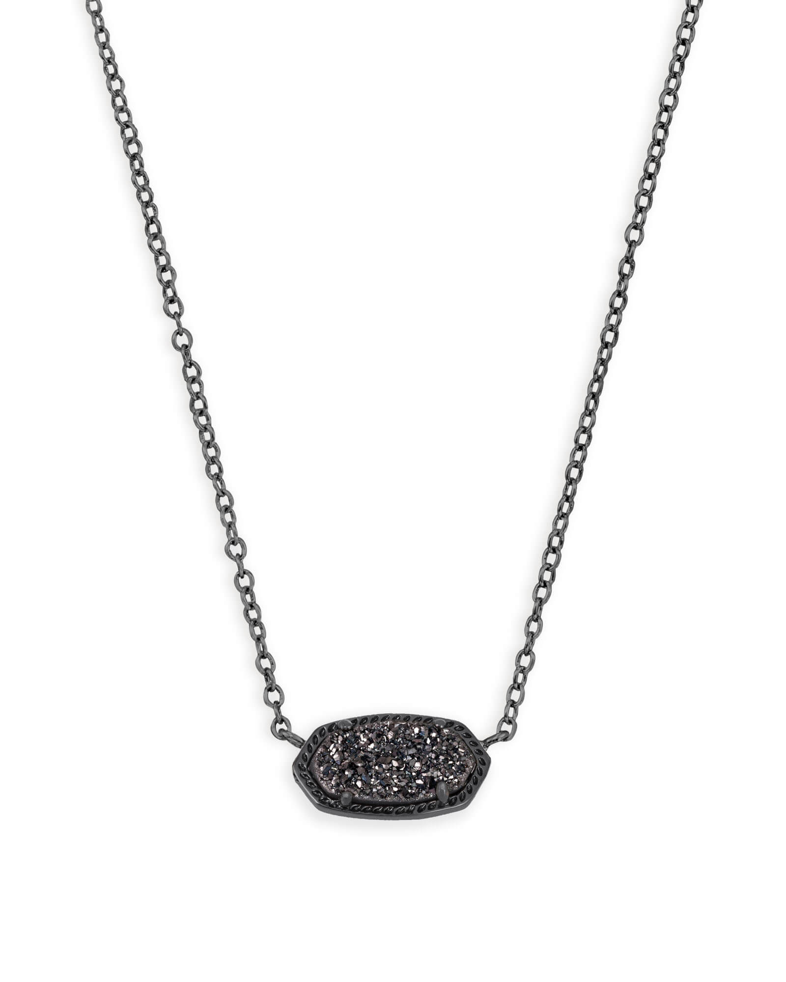 Elisa Gunmetal Pendant Necklace In Black | Kendra Scott Throughout Most Up To Date Sparkling Stones Pendant Necklaces (View 15 of 25)