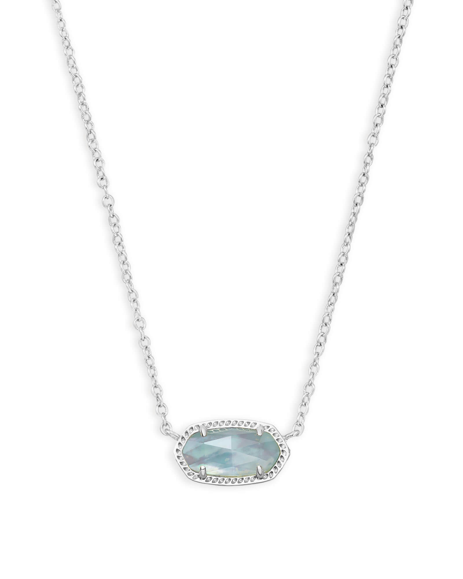 Elisa Silver Pendant Necklace In Light Blue | Kendra Scott With Current Multi Colored Crystal Patterns Of Frost Pendant Necklaces (View 9 of 25)