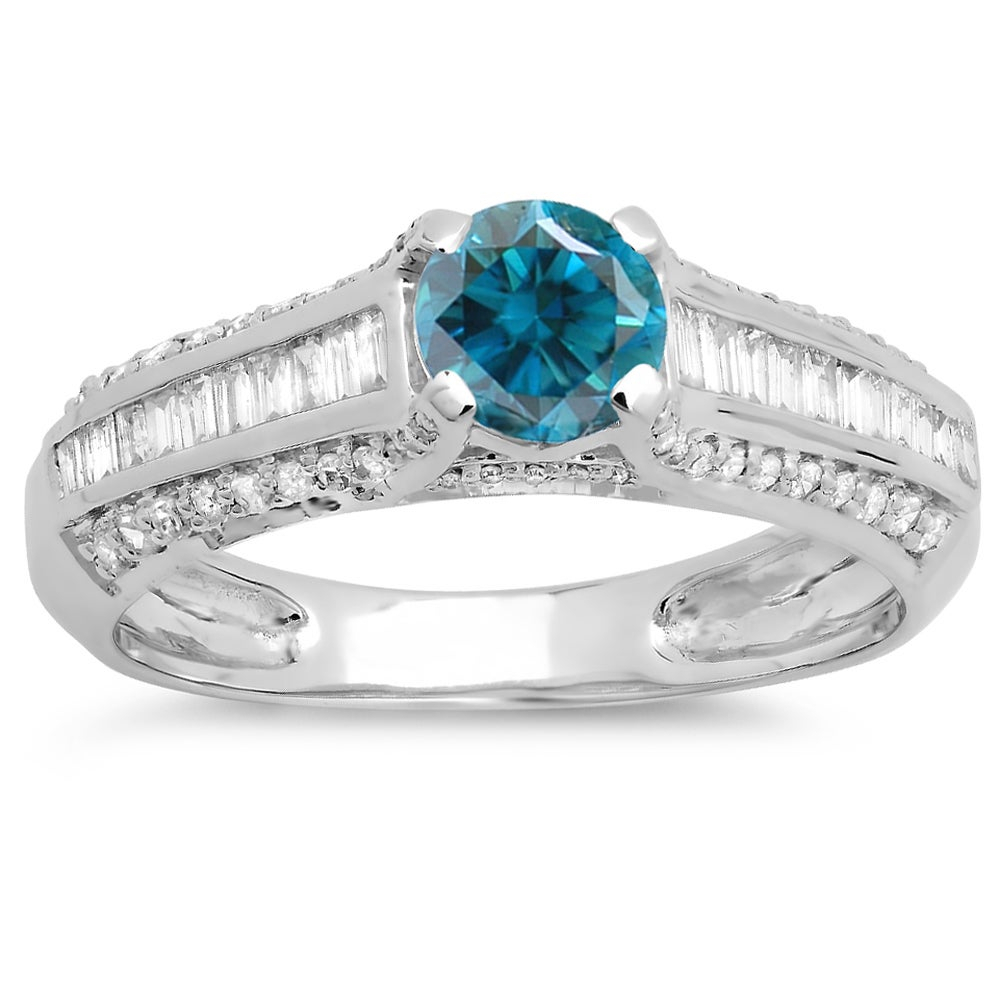 Elora 14K Gold 1 1/5Ct Round And Baguette Cut Blue And White Diamond  Vintage Style Solitaire With Accents With Regard To 2020 Round And Baguette Diamond Vintage Style Anniversary Bands In White Gold (View 10 of 25)