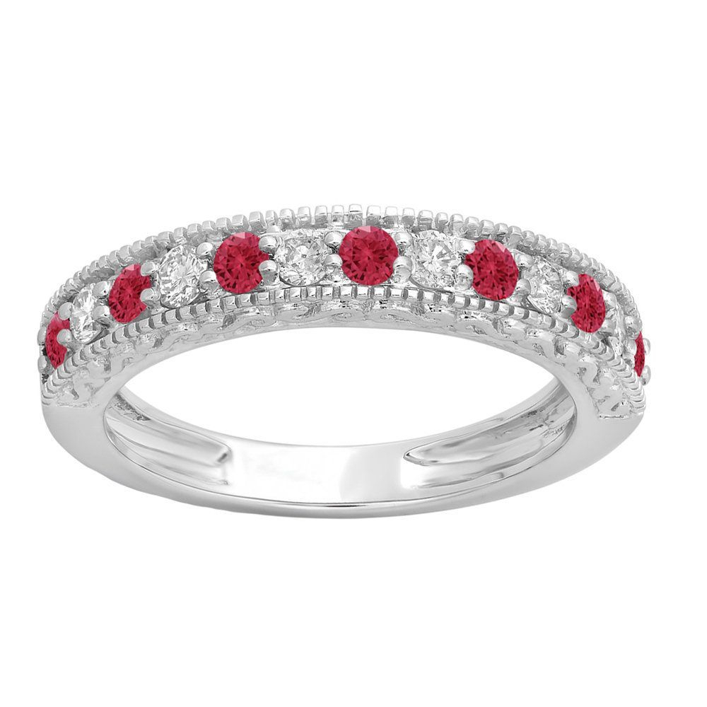Elora 14K Gold 1/2Ct Round Cut Ruby And White Diamond Throughout 2019 Diamond And Milgrain Anniversary Bands In White Gold (Gallery 23 of 25)