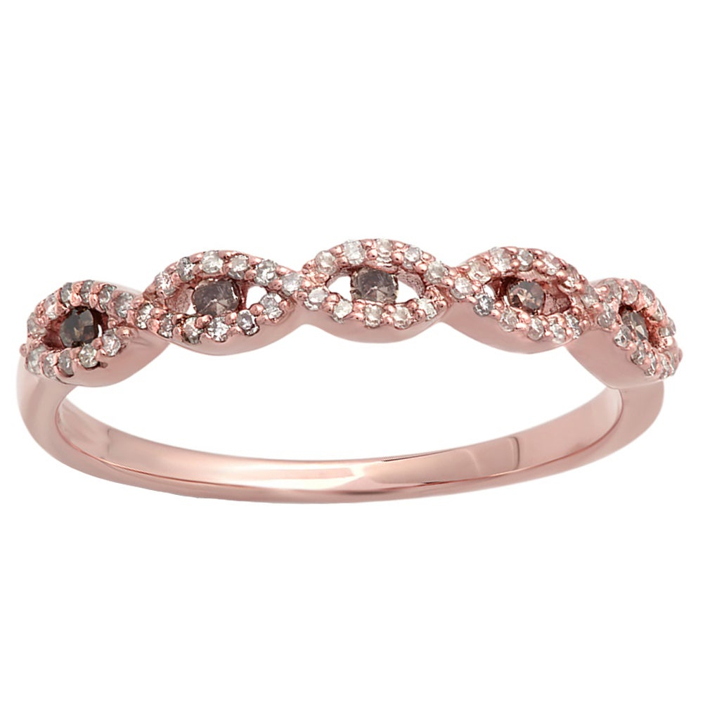 Elora 14k Rose Gold 1/4ct Tdw Champagne And White Diamond Stackable Wedding Band Swirl Ring Throughout Most Up To Date Champagne And White Diamond Swirled Anniversary Bands In Rose Gold (View 2 of 25)